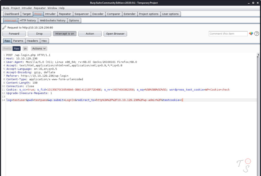 using burpsuite to show the login