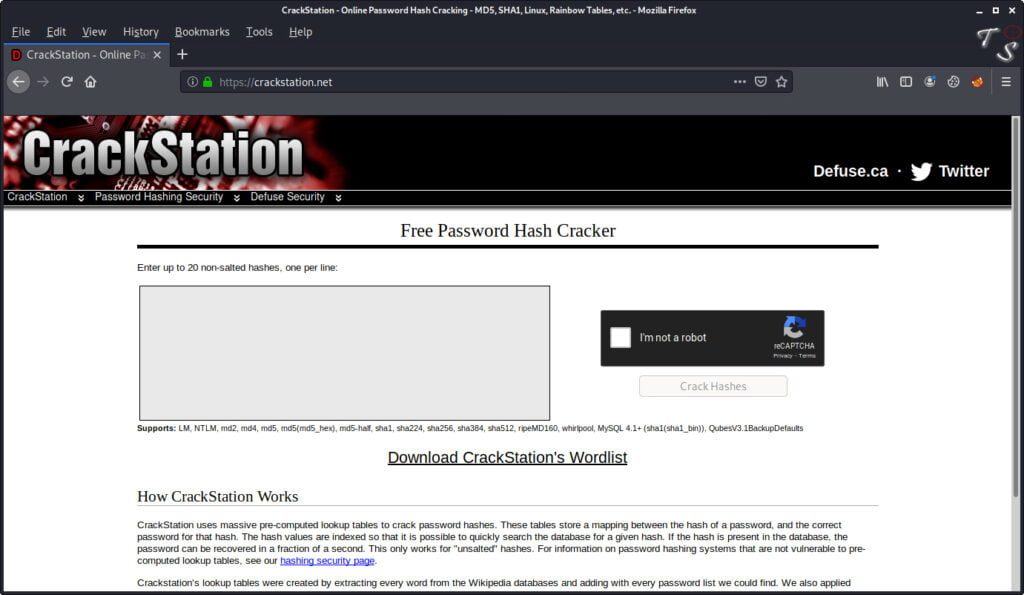 this is a screenshot of crackstation