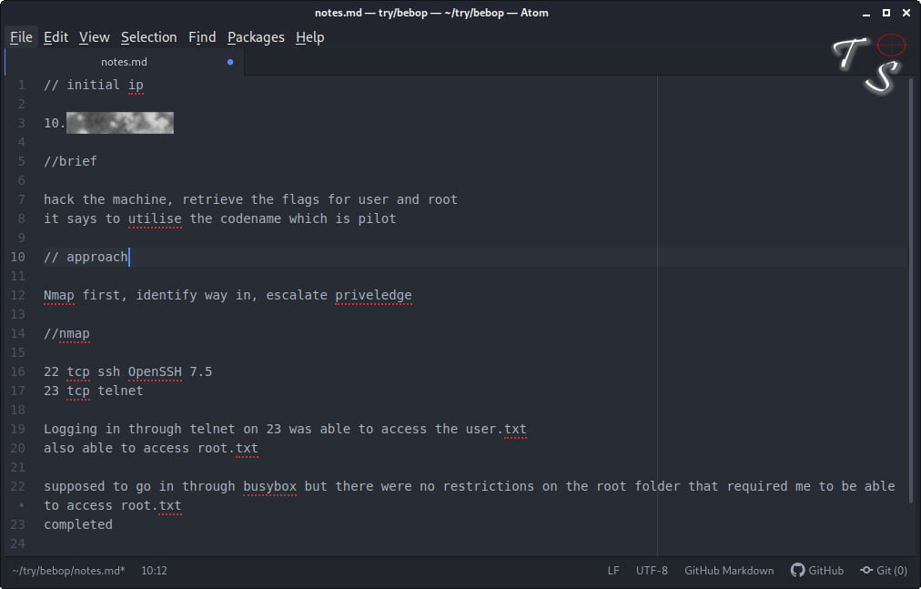 an example of note taking for capture the flags and pentesting